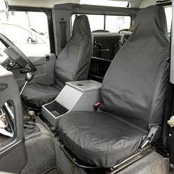Land Rover Defender 90/110 (No Middle Seat) Tailored Front Seat Covers - Black (1983-2007)