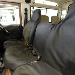 Land Rover Defender 90/110 (With Middle Seat) Tailored Front Seat Covers - Black (1983-2007)