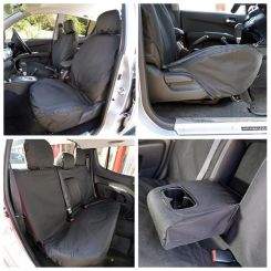 Mitsubishi L200 Tailored Front & Rear Seat Covers - Black (2006-2015)