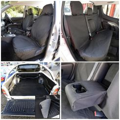 Mitsubishi L200 Tailored Front & Rear Seat Covers & Trunk Liner - Black (2010-2015)