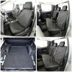 Ford Ranger T6 (Double Cab) Tailored Front & Rear Seat Covers & Custom Trunk Liner - Black (2012-2018)
