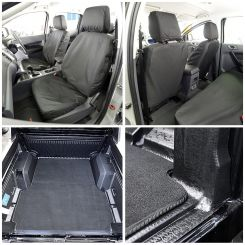 Ford Ranger T6 (Double Cab) Tailored Front Seat Covers & Custom Trunk Liner - Black (2012-2018)