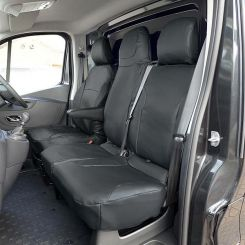 Renault Trafic Sport (Business Plus) Leatherette Tailored Front Seat Covers - Black (2014 Onwards)