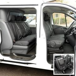 Renault Trafic Crew Cab Tailored Front & Rear Seat Covers - Black (2014 Onwards)