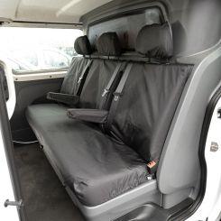 Renault Trafic Crew Van Tailored Rear Seat Covers (Set in Bulk Head) - Black (2014 Onwards)