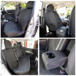 Mitsubishi L200 Tailored Front & Rear Seat Covers - Black (2015 Onwards)