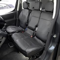 Peugeot Partner Leatherette Tailored Front Seat Covers - Black (2008-2018)