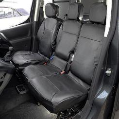 Citroen Berlingo Leatherette Tailored Front Seat Covers - Black (2008-2018)