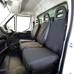 Iveco Daily Tipper Truck Tailored Front Seat Covers - Black (2014 Onwards)