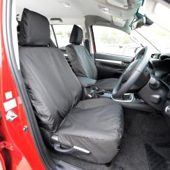 Toyota Hilux Active Tailored Front Seat Covers - Black (2016 Onwards)