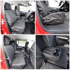 Toyota Hilux Icon & Invincible Tailored Front and Rear Seat Covers - Black (2016 Onwards)