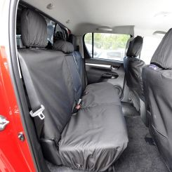 Toyota Hilux Icon & Invincible Tailored Rear Seat Covers - Black (2016 Onwards)