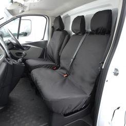 Renault Trafic Standard Van Tailored Front Seat Covers - Black (2014 Onwards)