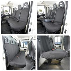 Peugeot Boxer Tailored Front & Rear Seat Covers - Black (2006 Onwards)