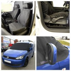 VW Caddy Tailored Front Seat Covers & Custom Screen Wrap - Black (2004 Onwards)