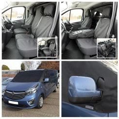 Renault Trafic Sport (Business Plus) Tailored Front Seat Covers & Screen Wrap - Black (2014 Onwards)