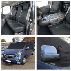Renault Trafic Sport (Business Plus) Leatherette Tailored Front Seat Covers & Screen Wrap - Black (2014 Onwards)