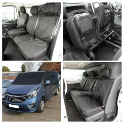 Renault Trafic Crew Van Tailored Front & Rear Seat Covers & Screen Wrap - Black (2014 Onwards)