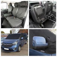 Vauxhall Vivaro (Crew Cab) Tailored Front Seat Covers & Custom Screen Wrap - Black (2014-2019)