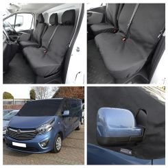 Vauxhall Vivaro Standard Van Tailored Front Seat Covers & Custom Screen Wrap - Black (2014-2019)