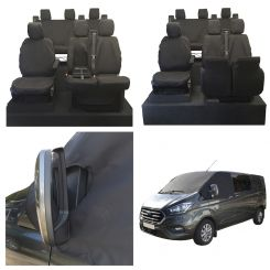 Ford Transit CUSTOM - Tailored Front & Rear Seat Covers & Custom Screen Wrap - Black (2013 Onwards)
