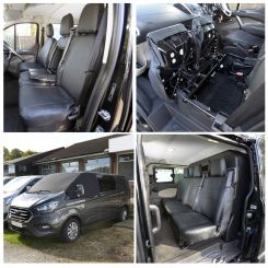 Ford Transit CUSTOM - Leatherette Front & Rear Seat Covers & Custom Screen Wrap - Black (2013 Onwards)