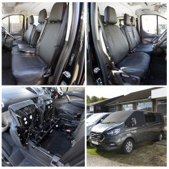 Ford Transit CUSTOM DCIV Leatherette Tailored Front Seat Covers & Custom Screen Wrap - Black (2013 Onwards)