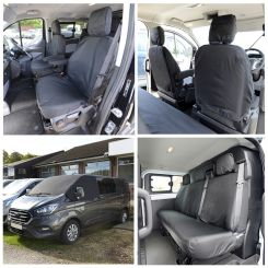 Ford Transit Custom M Sport Tailored Front & Rear Seat Covers & Custom Screen Wrap - Black (2013 Onwards)