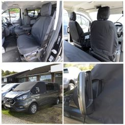 Ford Transit Custom DCIV Tailored Front Seat Covers & Custom Screen Wrap - Black (2013 Onwards)