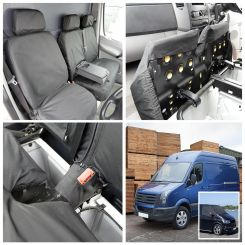 Mercedes Sprinter - Tailored Front Seat Covers & Custom Screen Wrap - Black (2006-2010)