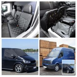Mercedes Sprinter Leatherette Tailored Front Seat Covers & Custom Screen Wrap  - Black (2006-2010)