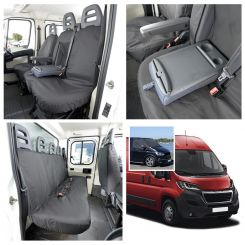Peugeot Boxer Tailored Front & Rear Seat Covers & Custom Screen Wrap - Black (2006 Onwards)