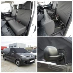 Toyota Proace Tailored Front Seat Covers & Custom Screen Wrap - Black (2016 Onwards)